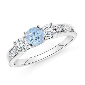 Angara Three Stone Aquamarine and Diamond Ring in White Gold rPLn24H