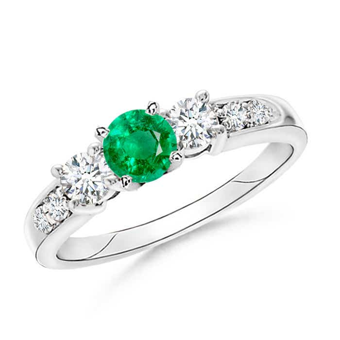 Angara Natural Emerald and Diamond Engagement Ring in White Gold