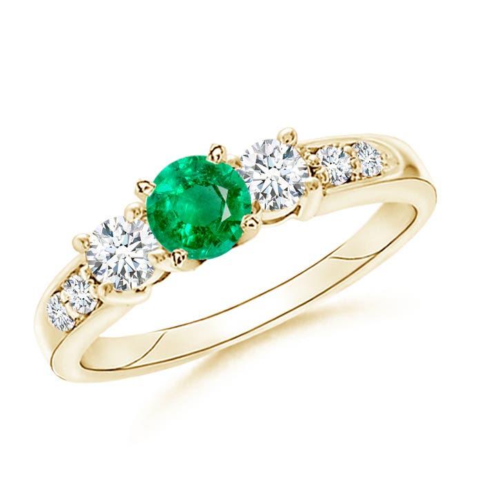 Angara Natural Emerald and Diamond Three Stone Ring in Yellow Gold kKqRHAWE