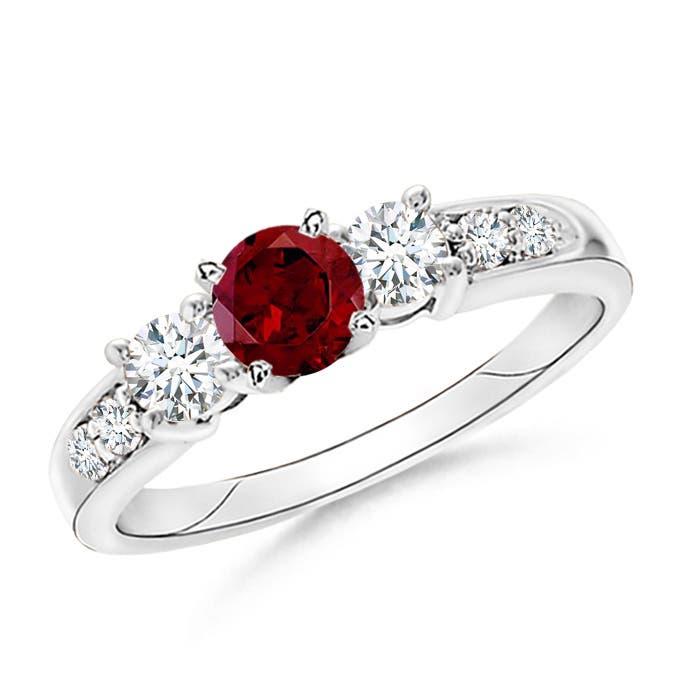 Three Stone Garnet and Diamond Ring - Angara.com