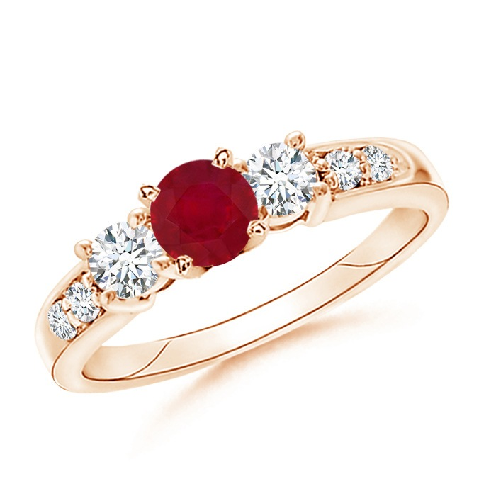 Angara Three Stone Ruby and Diamond Ring in 14K Yellow Gold 7e5rfHL