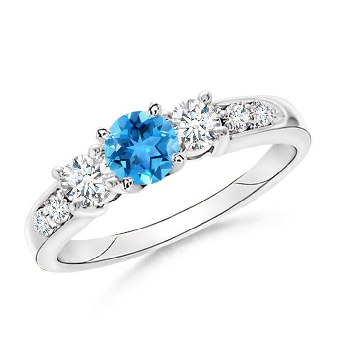 Three Stone Swiss Blue Topaz and Diamond Ring - Angara.com