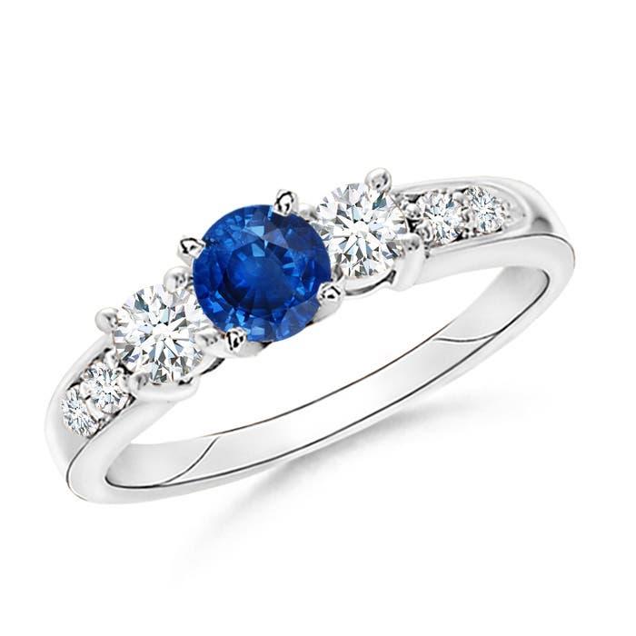 Three Stone Sapphire and Diamond Ring - Angara.com