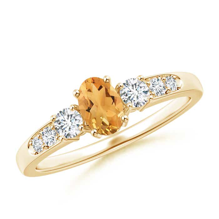 Angara Four Prong Three Stone Oval Citrine and Diamond Ring in 14K White Gold SiJO6txD