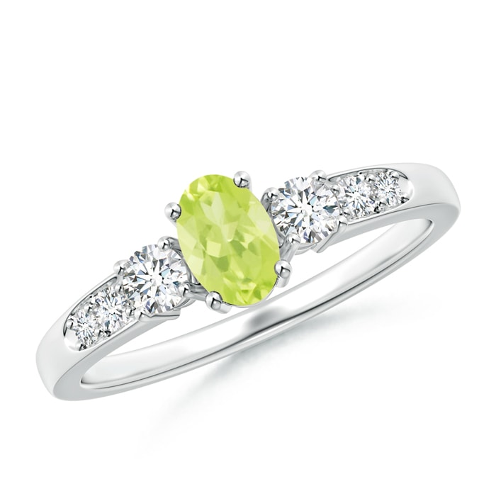 Angara Oval Three Stone Peridot Engagement Ring with Diamonds VAzbhMSil