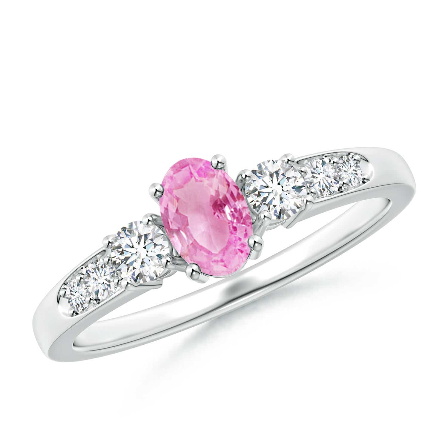 Angara Natural Pink Sapphire Engagement Ring in Platinum WhLazTpGwb