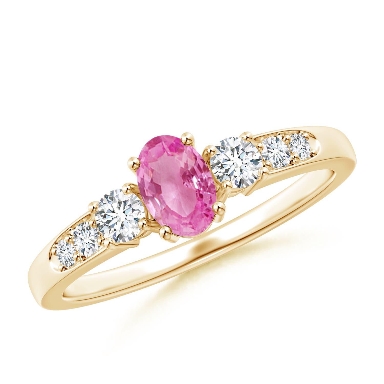 Angara Three Stone Sapphire and Diamond Ring in 14K White Gold GLAkHkWp