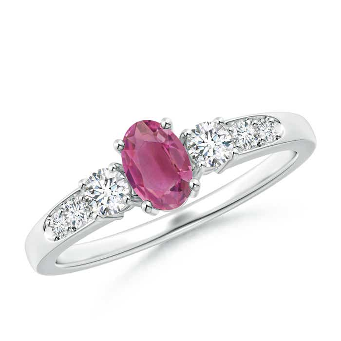 Three Stone Oval Pink Tourmaline and Diamond Ring with Accent  - Angara.com