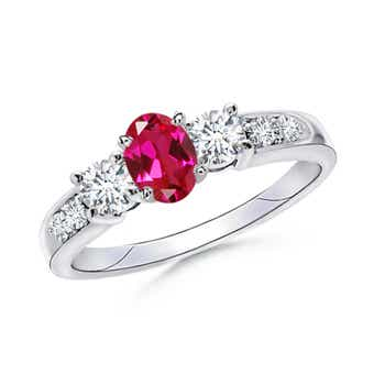 3 Stone Lab Created Oval Ruby and Diamond Ring with Accents - Angara.com