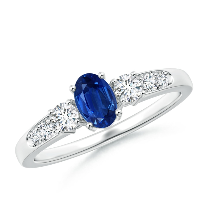 Angara Diamond Ring with Blue Sapphire Side Stones in Rose Gold KqjTOCj8D