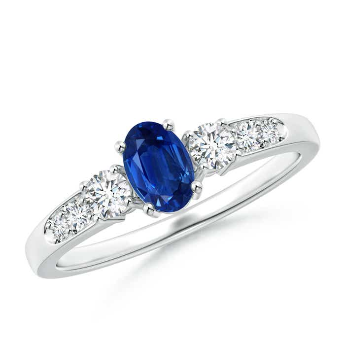 3 Stone Oval Blue Sapphire and Diamond Ring with Accents - Angara.com