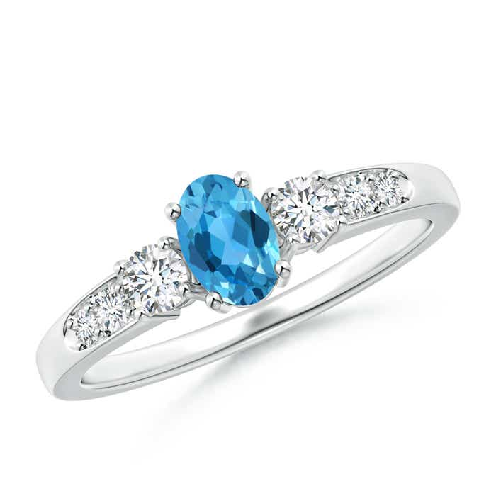 Three Stone Oval Swiss Blue Topaz and Diamond Ring with Accents - Angara.com