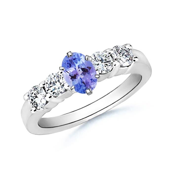 Oval Tanzanite and Round Diamond Five Stone Ring - Angara.com