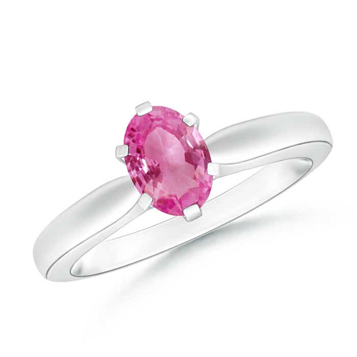 6 Prong Tapered Shank Oval Solitaire Pink Sapphire Ring - Angara.com