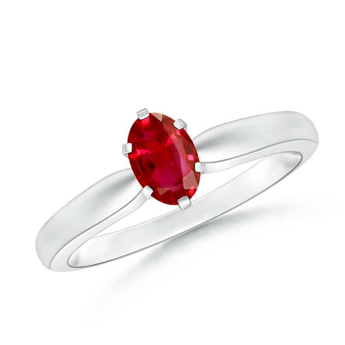 6 Prong Tapered Shank Oval Solitaire Ruby Ring - Angara.com