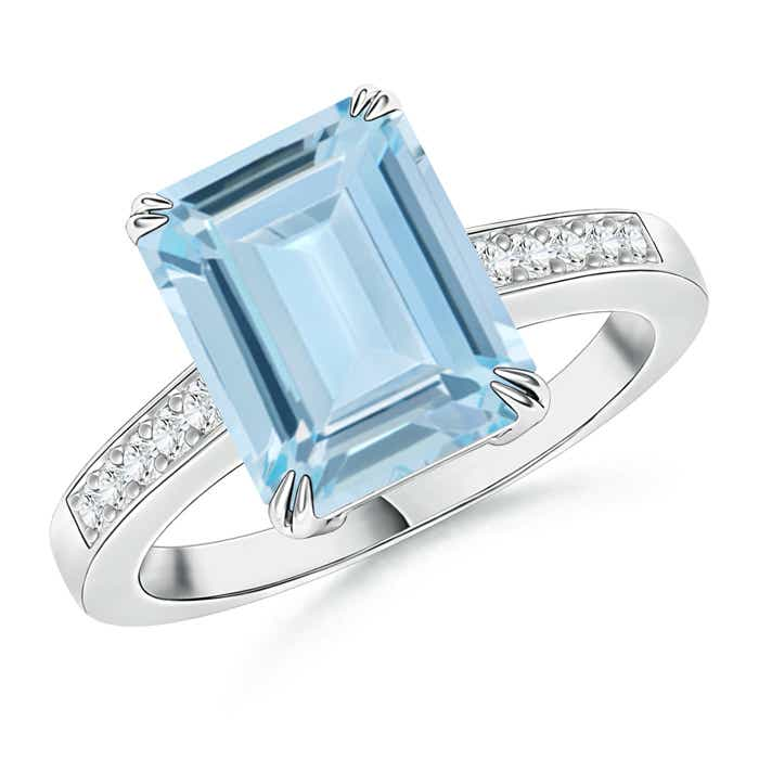 Angara Double Prong-Set Cushion Aquamarine Cocktail Ring in Yellow Gold