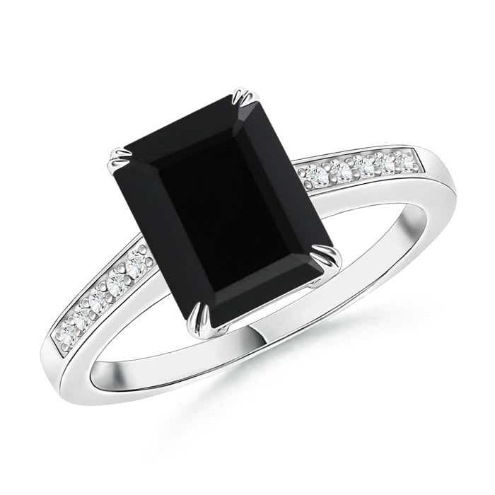 emerald cut black onyx cocktail ring with accents