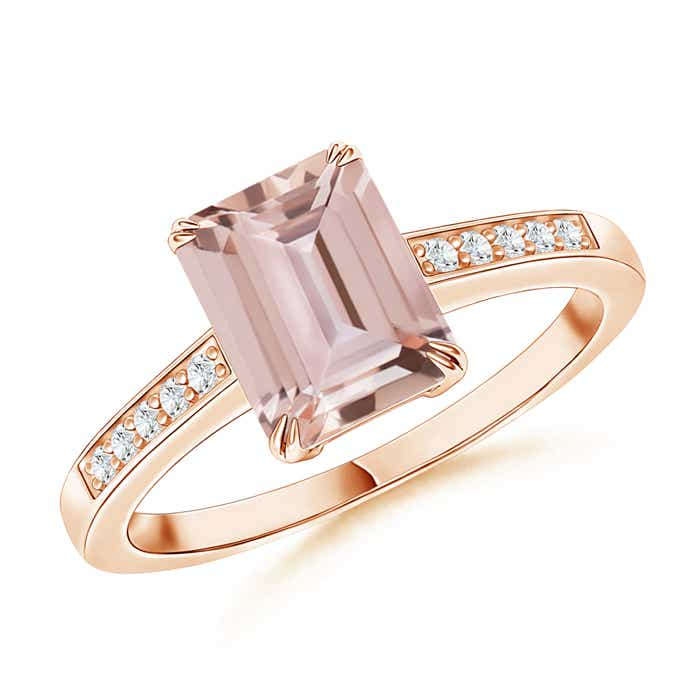 Angara White Gold Emerald-Cut Morganite Ring HGRFwH