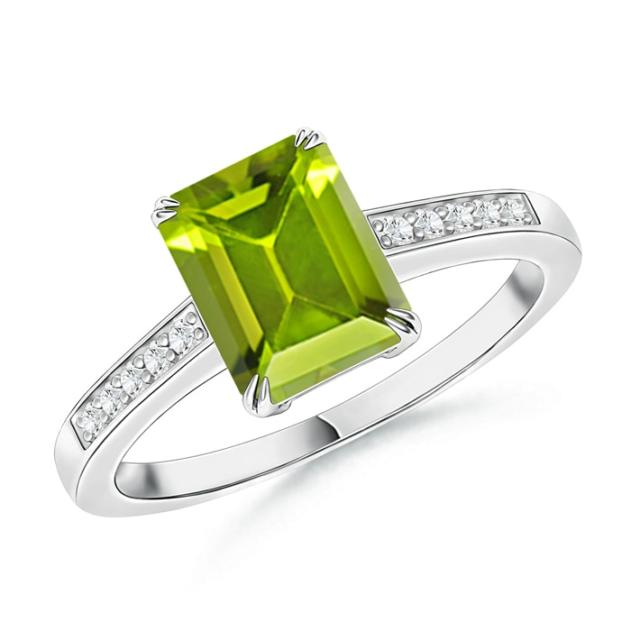 Double Claw-Set Peridot Solitaire Ring with Diamond Accent - Angara.com