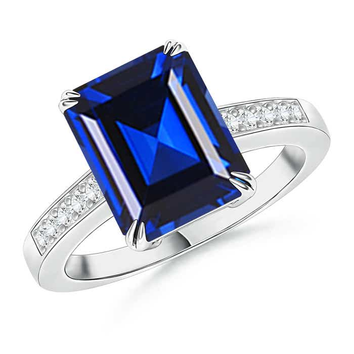 Claw-Set Emerald Cut Lab Created Sapphire Cocktail Ring with Diamond Accent - Angara.com
