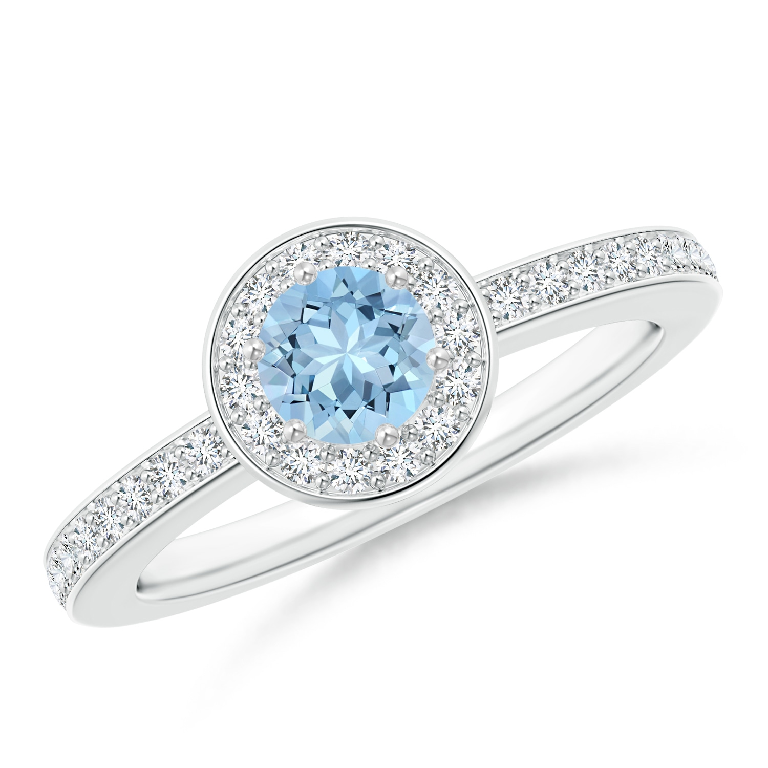Angara Cushion Aquamarine and Round Diamond Split Shank Ring KReloUq