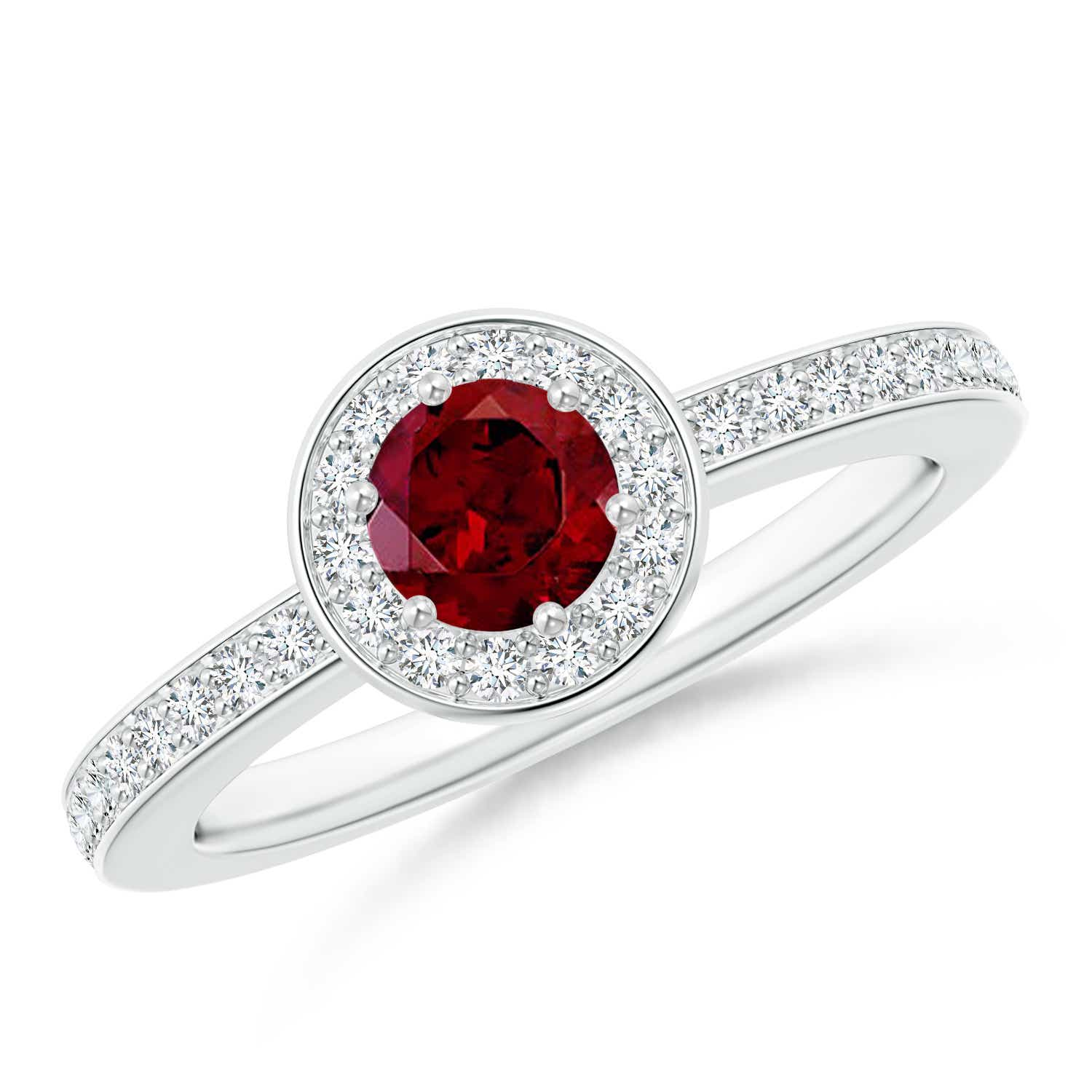 Round Garnet Halo Ring with Diamond Accent - Angara.com