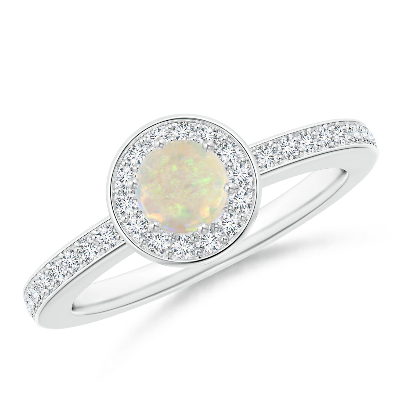 Round Opal Halo Ring with Diamond Accent - Angara.com