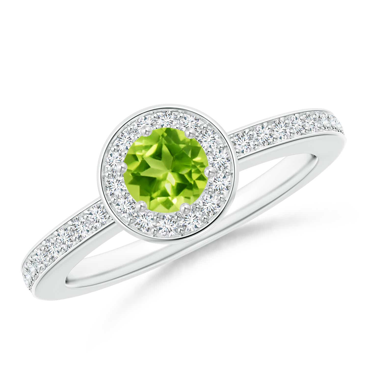 Angara Natural Peridot Solitaire Engagement Ring in White Gold O1toLzAyE5