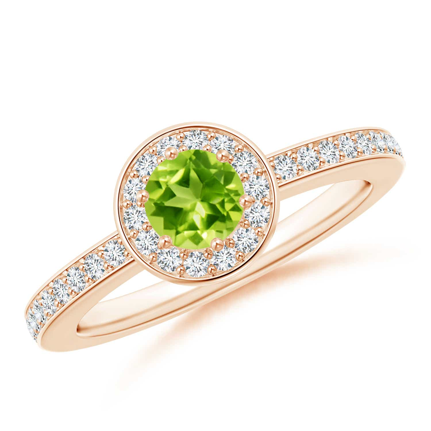 Angara Natural Peridot Gemstone Engagement Rings in Yellow Gold BLQ0Yce
