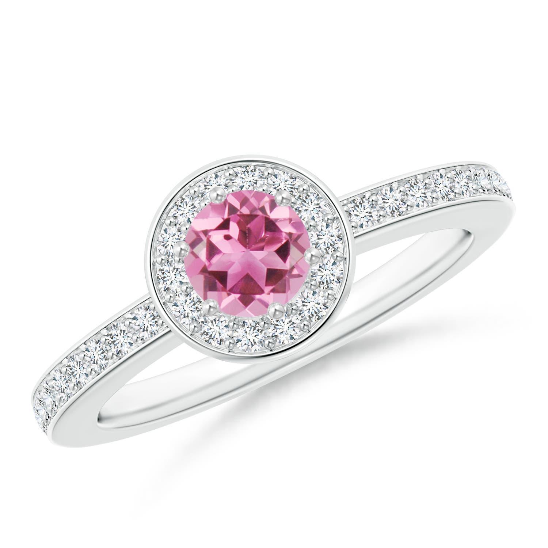 Round Pink Tourmaline Halo Ring with Diamond Accent - Angara.com