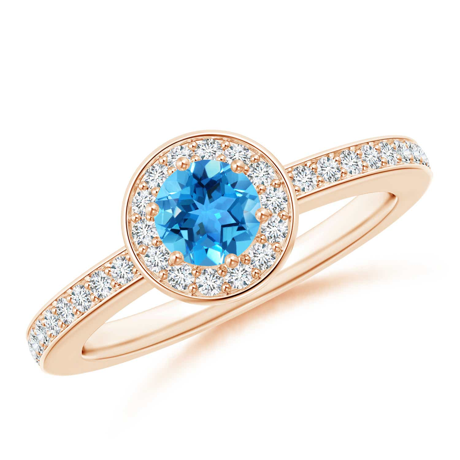 Angara Natural Swiss Blue Topaz Engagement Ring in Yellow Gold rHPSQkxT5
