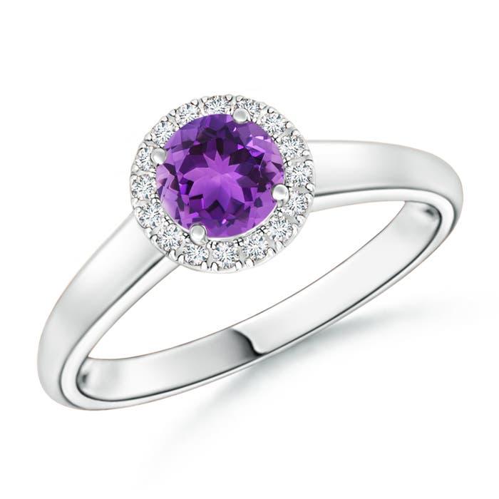 Classic Round Amethyst and Diamond Halo Ring - Angara.com