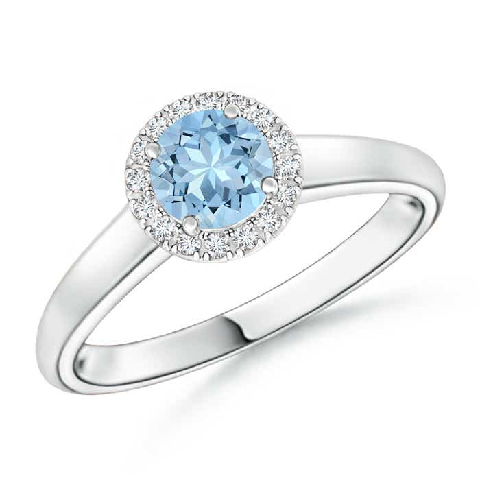 Classic Round Aquamarine and Diamond Halo Ring - Angara.com