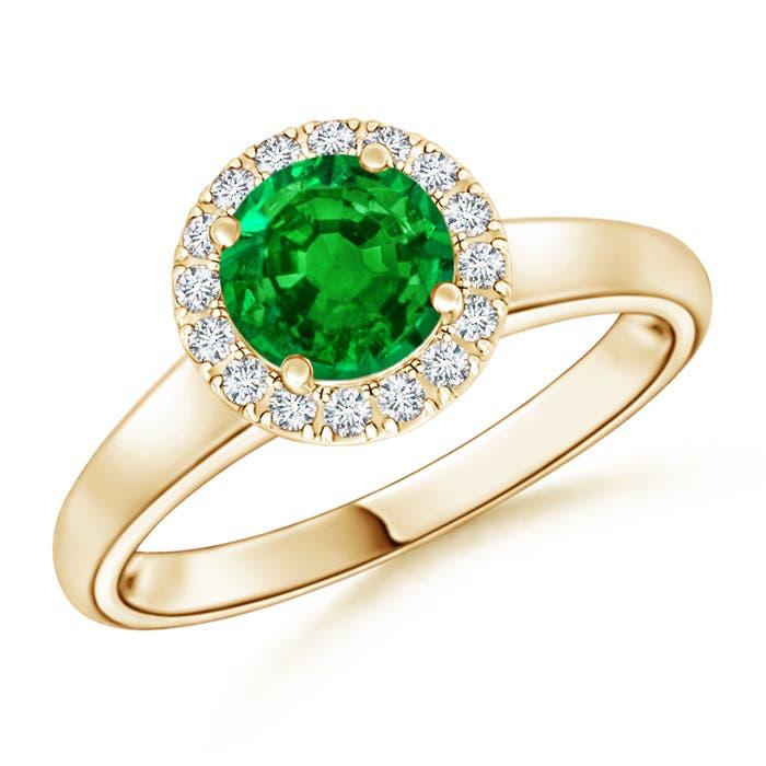 Classic Round Emerald and Diamond Halo Ring - Angara.com