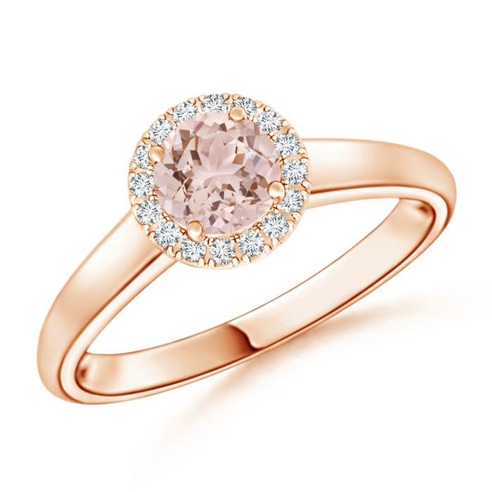 Classic Round Morganite and Diamond Halo Ring - Angara.com