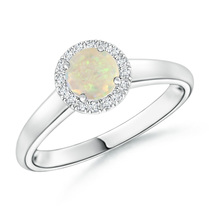Classic Round Opal and Diamond Halo Ring - Angara.com