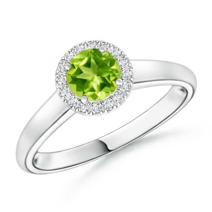 Classic Round Peridot and Diamond Halo Ring - Angara.com