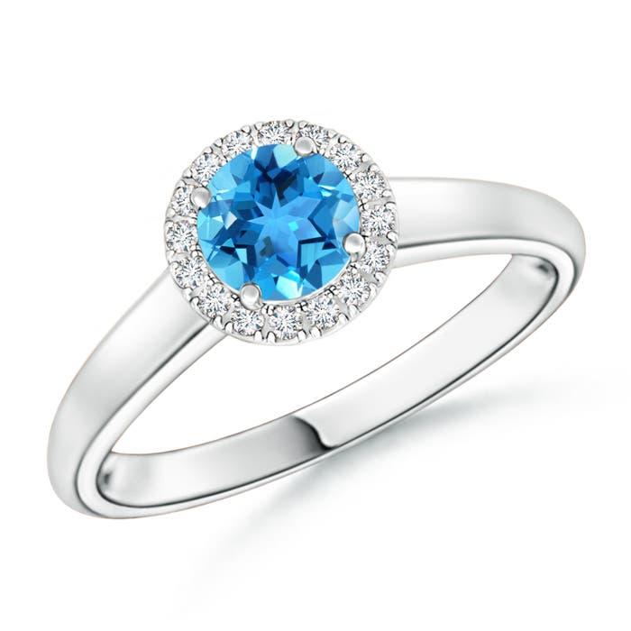 Classic Round Swiss Blue Topaz and Diamond Halo Ring - Angara.com