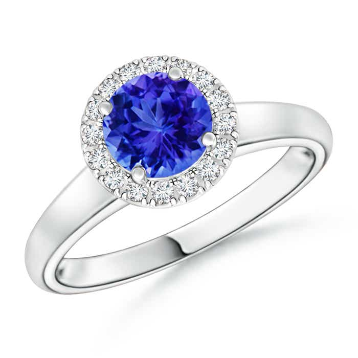 Classic Round Tanzanite and Diamond Halo Ring - Angara.com