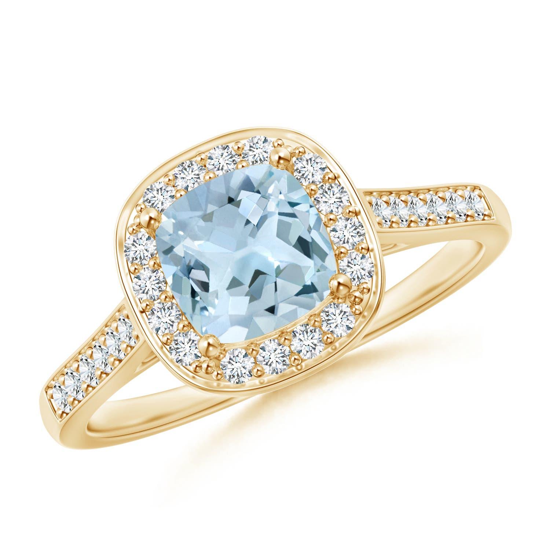 Angara Vintage Cushion Aquamarine Halo Ring with Diamond Halo 9TCwdW