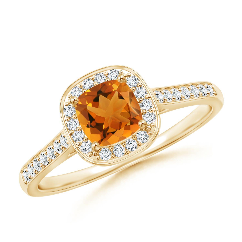 Angara Cushion Citrine and Diamond Ring in 14k White Gold ez5ycC