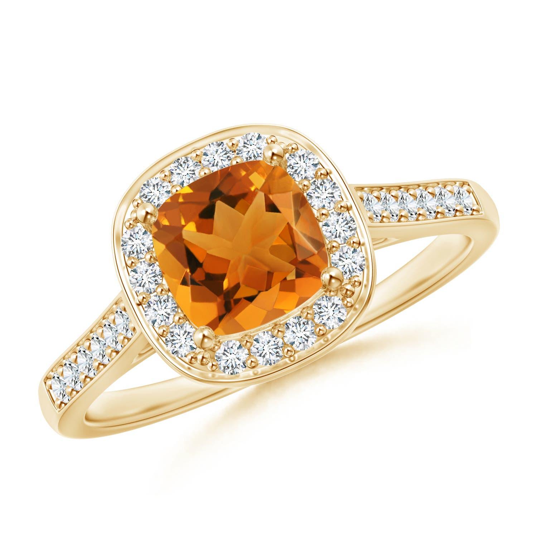 Vintage Inspired Diamond Halo Cushion-Cut Citrine Ring - Angara.com