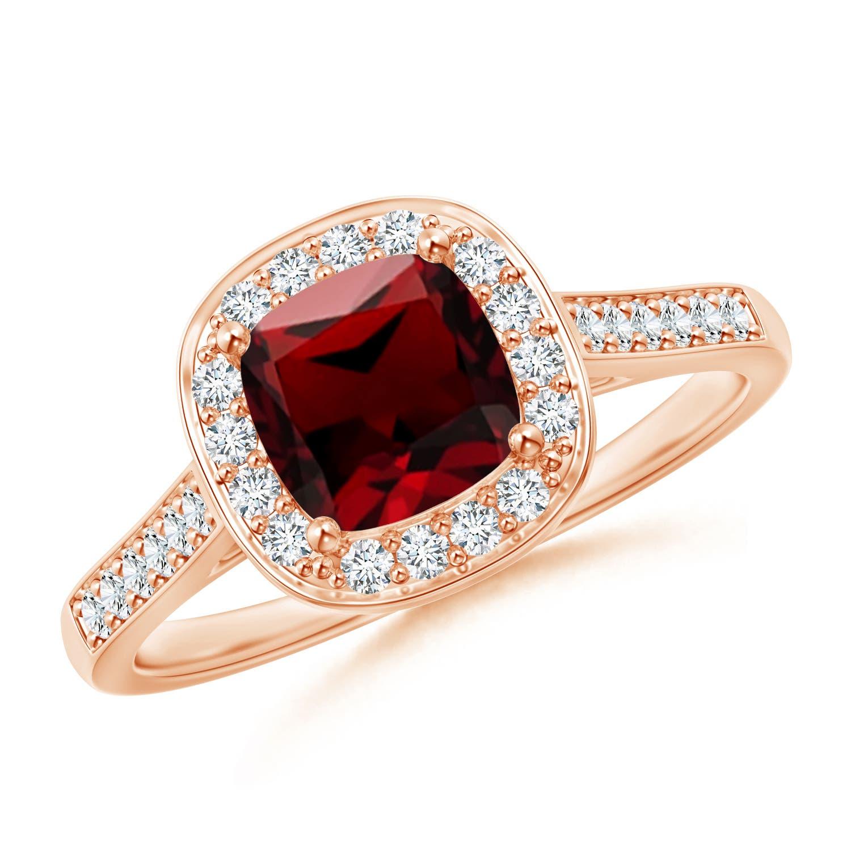 Vintage Inspired Diamond Halo Cushion-Cut Garnet Ring - Angara.com
