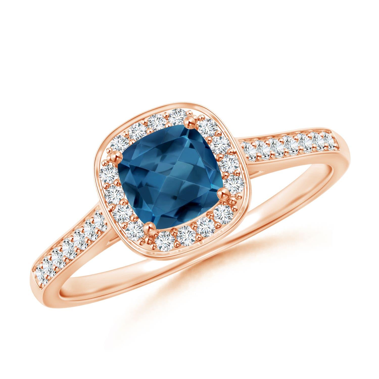 Angara Vintage Inspired Cushion London Blue Topaz Halo Ring boCkJ2