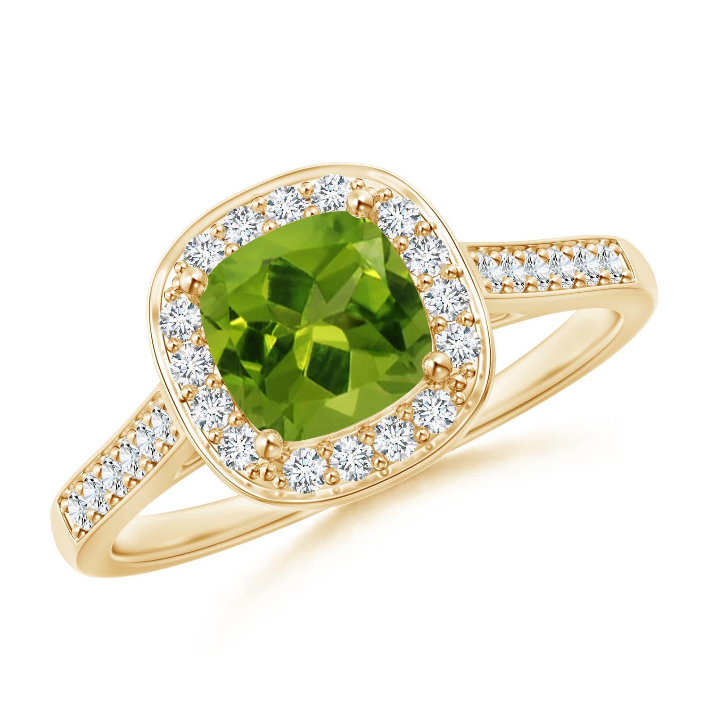 Vintage Inspired Diamond Halo Cushion-Cut Peridot Ring - Angara.com