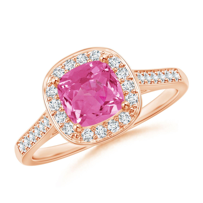 Vintage Diamond Halo Cushion-Cut Pink Sapphire Ring - Angara.com