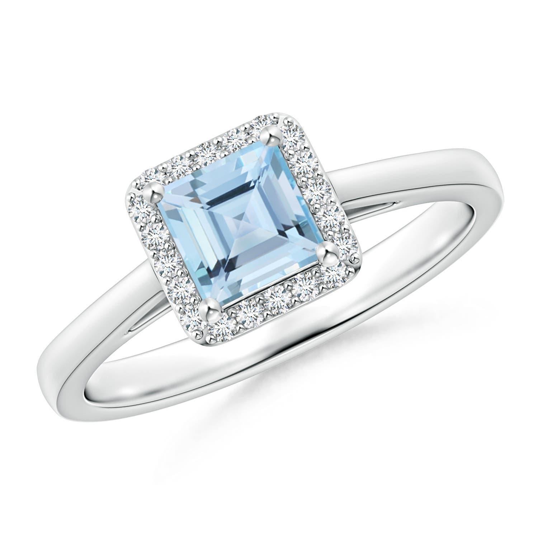 Angara Square-Cut Aquamarine Halo Engagement Ring in White Gold kpNiu