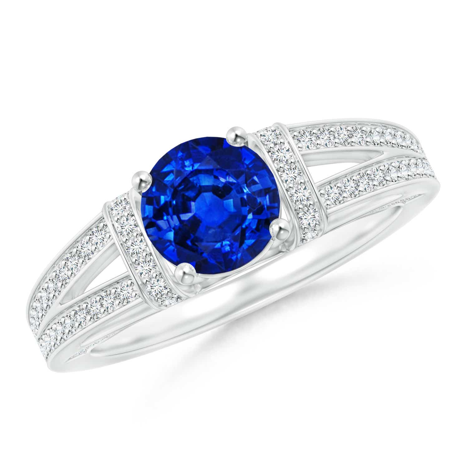Angara Platinum Prong Set Round Sapphire and Diamond Tapered Shank Ring cNakq
