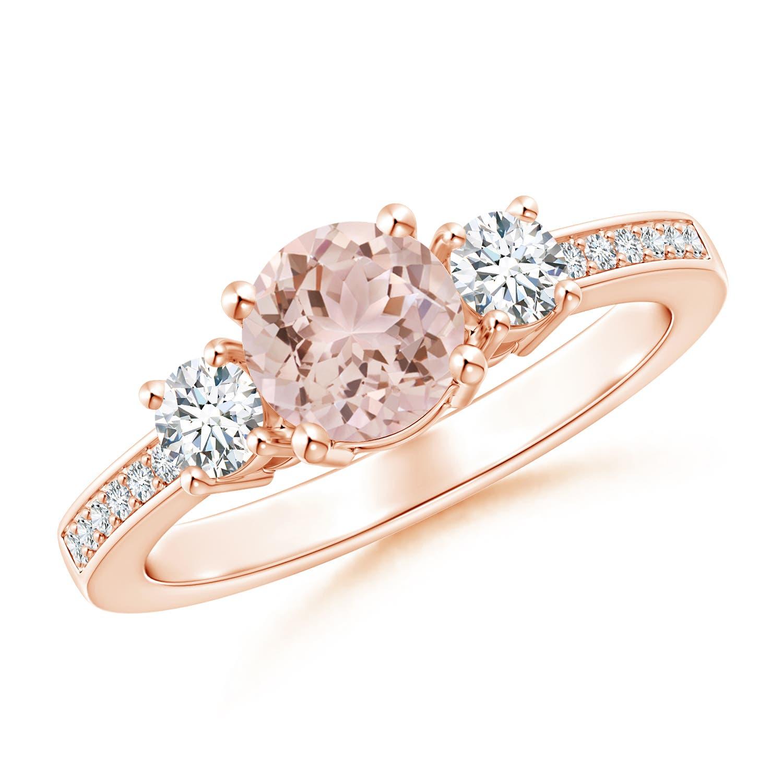 Classic Three Stone Morganite and Diamond Ring - Angara.com