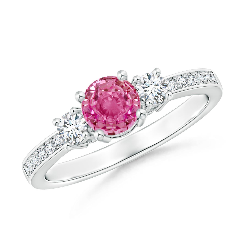 Classic Three Stone Pink Sapphire and Diamond Ring - Angara.com